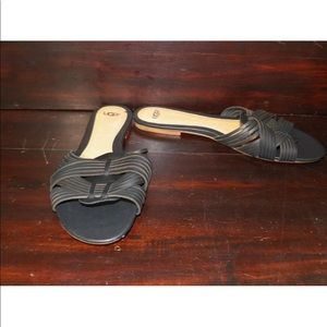 New Womens UGG Chanez Black Slide Leather Sandals